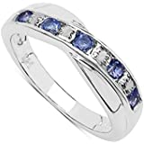 The Tanzanite Ring Collection: Beautiful Channel Set Tanzanite & Diamond Crossover Eternity Ring, Mother's Day, Anniversary Gift, Size H,I,J,K,L,M,N,O,P,Q,R,S,T,U,V,W