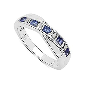 The Tanzanite Ring Collection: Beautiful Channel Set Tanzanite & Diamond Crossover Eternity Ring in Sterling Silver (Size H)