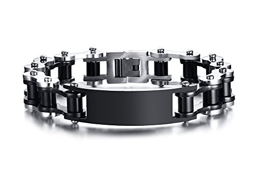 Vnox bracciale personalizzato da uomo in acciaio inossidabile personalizzato con catena a forma di bicicletta,con incisione personalizzata nera