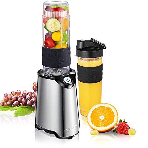 Aicok Mini Blender, Smoothie Mixeur pour Milk-Shake, Jus de Fruits et Légumes, 2 Bouteilles portables de 600ml pour Sport, Voyage, Tritan Sans BPA, Inox, 300W