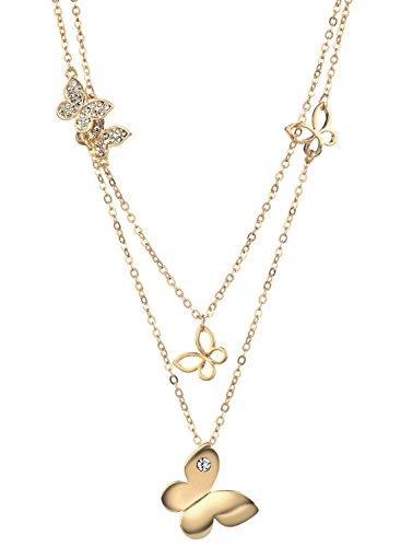 NEOGLORY Halskette Schmetterling 14K Gold Damen Elegant