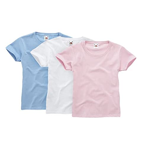 Fruit of the Loom Mädchen T-Shirt Classic 3 Pack 110053, Gr. 140, Weiß (wHüte skyblue light pink