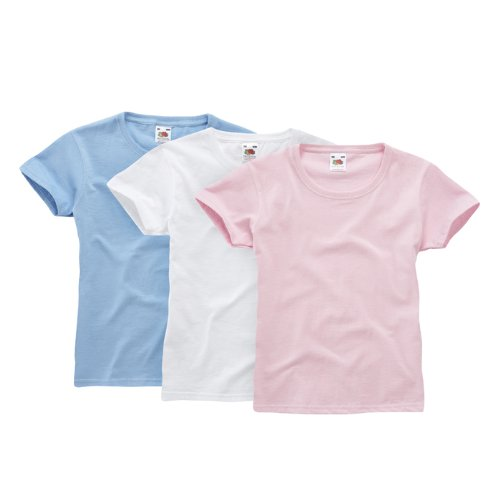Fruit of the Loom Mädchen T-Shirt Classic 3 Pack 110053, Gr. 140, Weiß (wHüte skyblue light pink 39) - Loom 3-pack-slips