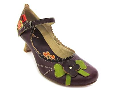 YOMA STORE Thyme - Flower Buckle-Up Shoes (5, Purple)