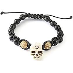 AFSTALR Bracelet Johnny Hallyday Cadeau Bijoux de pour Hommes Tressé Perles Crâne de Simulation, À Son Concert(Longueur Ajustable)