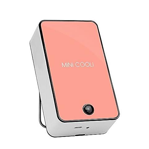 Detome Handheld Klimaanlage Ventilator USB Ventilator Laden Mini-Leaf Ventilator Shopping Tour Outdoor tragbare Ventilatoren (schöne Pulver)