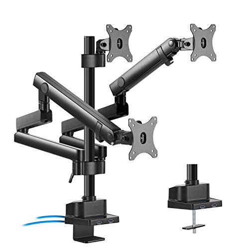 """Maclean MC-811 3-Fach Monitorhalter mit Gasfeder Tischhalterung Monitorarm Monitorständer VESA 75x75 100x100 17-27\"""" Für 3 Monitore + 2X USB 3.0"""
