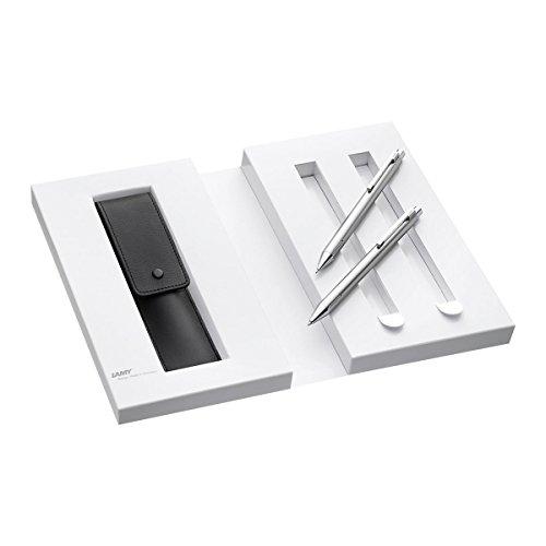 Lamy 1230494 Set Druckkugelschreiber und Druckbleistift mit Lederetui in Geschenkverpackung M econ 240/140, silber