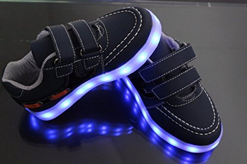 [Present:kleines Handtuch]JUNGLEST 7 Farben LED Kinder, Jungen, Mädchen führte leuchten Trainer Sneakers Turnschuhe Sportschuh Black