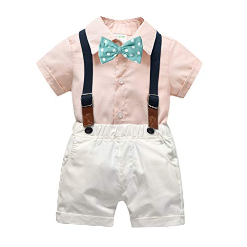 Alwayswin Kleinkind Baby Kind Junge Overall Anzug Mode Gentleman Abendkleid Das Kleid waschen Einfarbig Einfach Shirt Kurzarm Top Hosenträger Gummiband Shorts Fliege Party Outfits