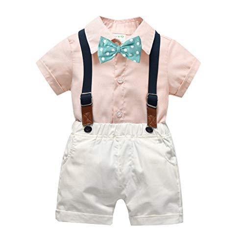 MRULIC Infant Baby Jungen Gentleman Strampler Hosenträger Strap Shorts Outfits Sets Sommer Kurzarm Shirt und Hose