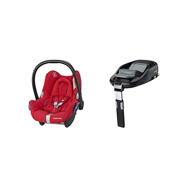 Maxi-Cosi CabrioFix Baby Car Seat with FamilyFix ISOFIX Base, Nomad Red Maxi-Cosi Baby car seat, suitable from birth to 13 kg (birth to 12 months) Side protection system for optimal protection against side impact ISOFIX car seat base suitable for children up to 18 kg (from birth to 4 years) 1