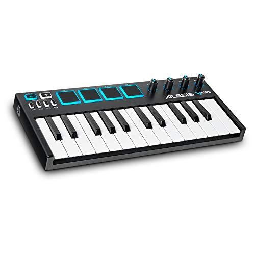 Alesis V-Mini - Tragbarer 25-Tasten USB-MIDI Keyboard Controller mit 4 hintergrundbeleuchteten Pads, 4 zuweisbaren Encodern und einem professionellen Softwarepaket inklusive Pro Tools | First