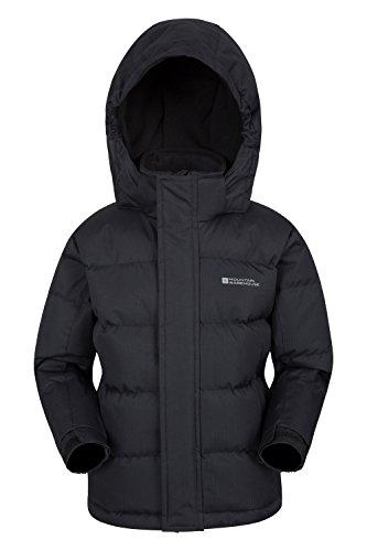 Mountain Warehouse Snow gefütterte Juniorjacke Wasserfeste Warme Winterjacke Kinder Mädchen Jungen Schwarz 152 (11-12 Jahre)