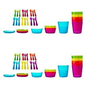 ikea kalas m nag re 72 pi ces assiette en plastique bols et tasses cuisine maison. Black Bedroom Furniture Sets. Home Design Ideas