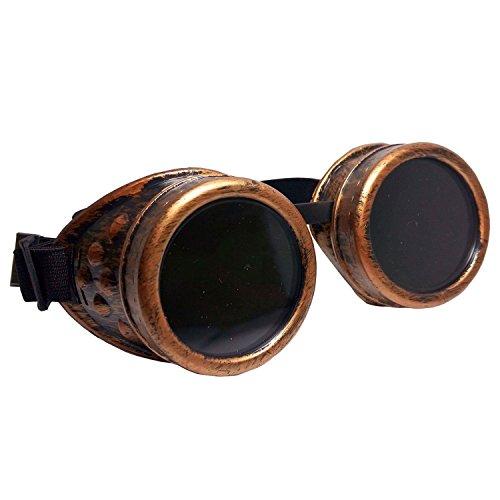 SODIAL(R) Steampunk Lunettes de securite Lunettes de protection coupe-vent Vintage soudage gothique Cosplay lentilles Verres cuivre rouge