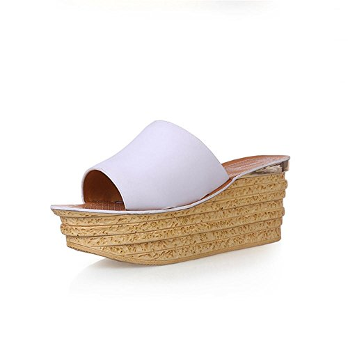 Heart&M Véritable talon compensé en cuir pour femme semelle épaisse Muffin talon plateforme Chaussons Sandals Chaussures de plage White