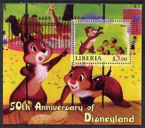 Liberia 2005 50th Anniv of Disneyland #11 (Chip & Dale) perf s/sheet u/m DISNEY CINEMA MOVIES CARTOONS ENTERTAINMENTS JandRStamps (65755)