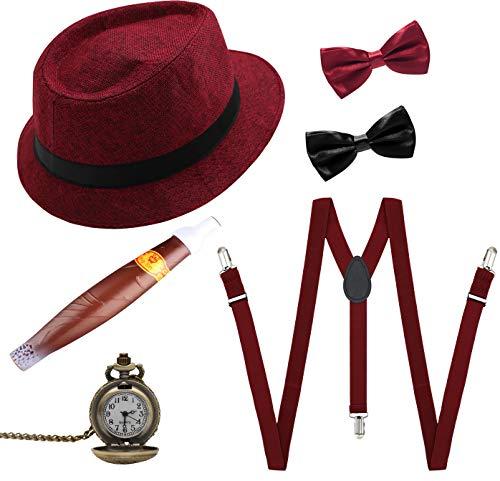 erren kostüm Gatsby 1920S Mens Accessoires Zubehör Set(Burgund) ()