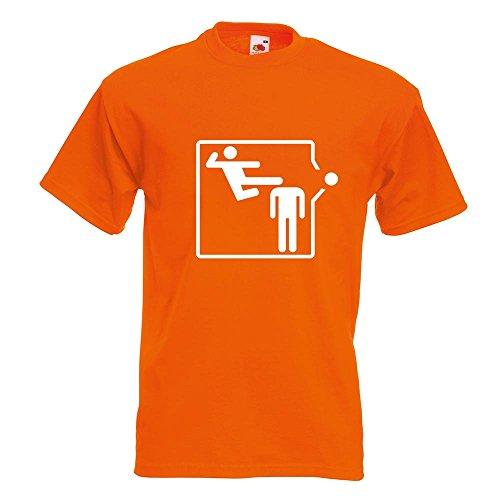 KIWISTAR - Karate Kick T-Shirt in 15 verschiedenen Farben - Herren Funshirt bedruckt Design Sprüche Spruch Motive Oberteil Baumwolle Print Größe S M L XL XXL Orange