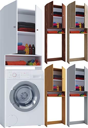 *VCM Waschmaschinenschrank Hochschrank Trockner Überbau Schrank Lona Weiß*