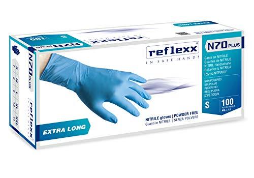 Reflexx N70P, Guanti in Nitrile senza Polvere Extra Lungo 29 Cm, Gr 5.8, 100 Pezzi,...