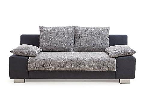 B-famous MAX Sofa Zeitloses Funktionssofa Schlafsofa, Stoff, schwarz/grau, 98 x