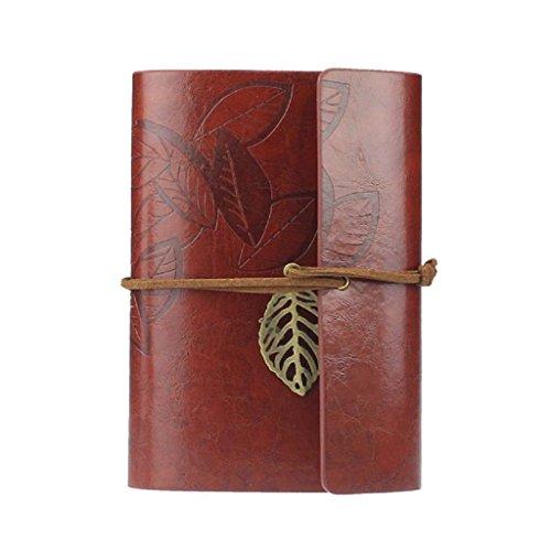 Vovotrade Vintage Cuaderno de Cuero PU Diario Bloc de Notas con Colgante Hoja Nuevo ( rojo oscuro)
