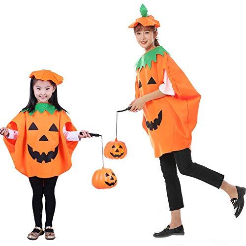 Enjoyyouselves Mädchen Kürbis Kostüm, Kinder Halloween Kürbis Kostüm Dress up Set mit Kürbis Hut Phantasie Cosplay Performances Passend für Halloween & Karneval Party (Kinder & Eltern) (Eltern Kind Passenden Kostüm)