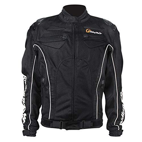 Motorrad Trikot Herren Sommer Mesh Trikot Langarm Atmungsaktiv Schlank Rennanzug Mit EAV Schutzausrüstung (XXL,Schwarze Jacke)