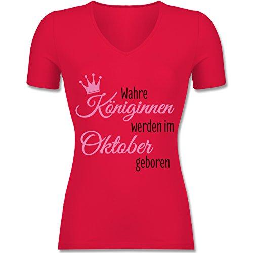 Shirtracer Geburtstag - Wahre Königinnen Werden IM Oktober Geboren - Tailliertes T-Shirt mit V-Ausschnitt für Frauen Rot