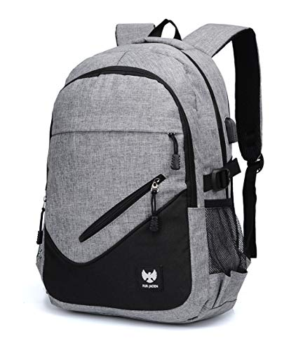 Fur Jaden Grey Casual Backpack with USB Charging Port and 15.6 Inch Laptop Pocket Image 2