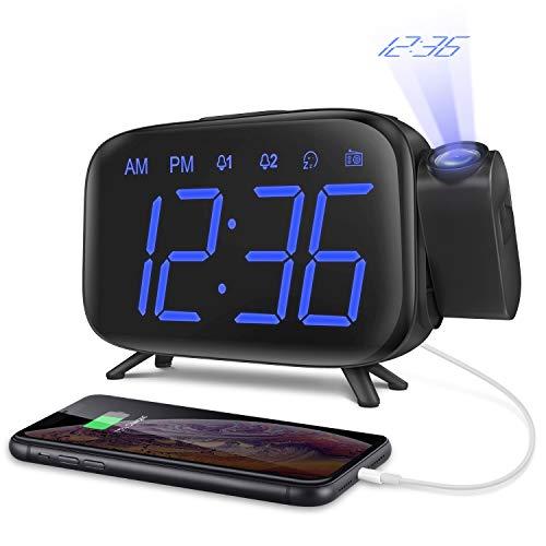 ELEHOT Despertadores Digitales Proyectores Radio Despertador Reloj de Proyección Pantalla LCD Azul y Volumen Ajustable 7 Tonos Función de Radio Alimentación USB (Azul)