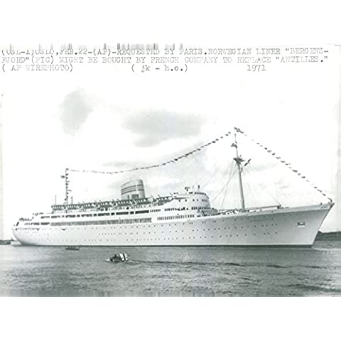 Vintage photo of Norwegian liner and Real ship Bergensfjord - Bergen Liner