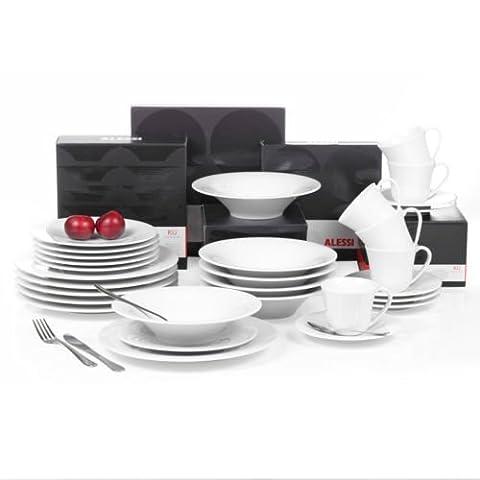 ALESSI KU Porcelaine Dîner Service Set - Blanc, 10 Place