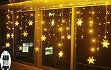 SMITHROAD LED Lichtervorhang Schneeflocke für Weihanchten Party IP44 24V Niederspannung mit 8 Modi 94er Lichterkette Weihnachtsbeleuchtung für Innen Außen Fenster Deko 3,6M x 1M Warmweiß
