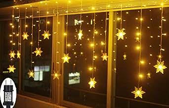 Smithroad led lichtervorhang schneeflocke f r weihanchten party ip44 24v niederspannung mit 8 - Led weihnachtsbeleuchtung fenster innen ...