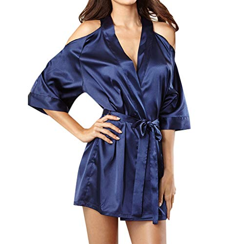 SUMTTER Blau Kalte Schulter Haushalt Nachthemd Rock Sexy Spitze Tiefer V-Ausschnitt Unterwäsche Damen SchnüRen Set Dessous Set Schlafanzug