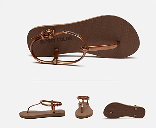 ALUK- Été - coréen plat décontracté sandales mode avec des chaussures de plage ( couleur : Marron , taille : 37 ) Marron