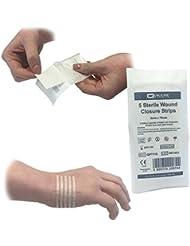 Bandes 125(Lot de 25) de qualicare 3mm x 75mm adhésif hypoallergénique stérile Peau Sutures au point de croix plaie Fermeture Bandes