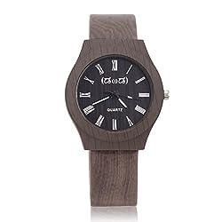 Smileyes Retro Roman Numeral Hour Markers PU Strap Hardlex Crystal Mens Quartz Analog Watch TSW012G.01A