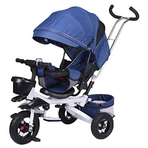 YINGH - Triciclo para niños 4 en 1, Asiento cómodo y ajustable, el bebé puede sentarse o acostarse...