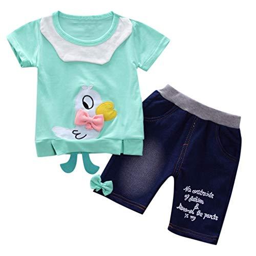 Babykleidung Mädchen Off Schulter Crop Tops + Loch Jeans Hose Kinderbekleidung Blumen Drucken Kleider Set Kinder Kleidung Sommer Outfits (12M-3Y) Quaan