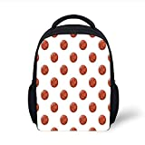 Kids School Backpack Basketball,Cartoon Classical Balls Competition Scoring Professional Tournament Decorative,Cinnamon Black White Plain Bookbag Travel Daypack