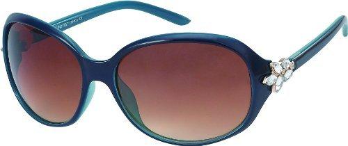 Damen Sonnenbrille XL Gläser mit Strass Art. 8225-2 blau/braun mit Strass