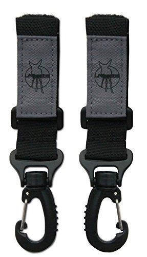 Lässig Stroller Hooks zum Befestigen am Kinderwagen mit Klettverschluss, 2 Stück, schwarz