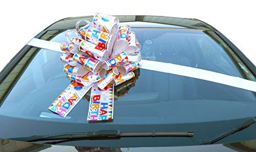Jaffa Imports riesige Schleife für Autos (40,6cm), mit 6 Meter langem Band, für Autos, Fahrräder, große Geburtstags- und Weihnachts-Geschenke, Motiv: Happy Birthday.