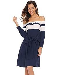 Beyove Damen Schulterfrei Patchwork Kleider Sommerkleid Partykleider  Abendkleider schnüren Taille Langarm A-Linie Kleid Knielang 3d820b2ed2