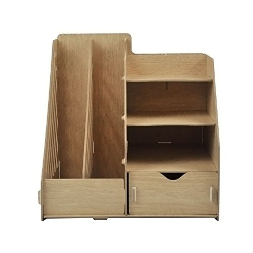 HomJoy Multi-Functional Wooden Desktop Organiser, DIY Desk Tidy Stationary Storage Cabinet with 2 A4 File Holder Sections, 5 Compartments and 1 Drawer for Home, Office and School (Wood)