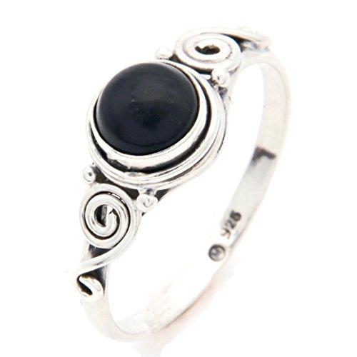 Ring Silber 925 Sterlingsilber Onyx schwarz Stein 1 (Nr: MRI 115), Ringgröße:58 mm/Ø 18.5 mm
